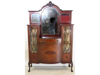 ce-6 1890年代 イギリス製 アンティーク ビクトリアン マホガニー ミラーバックキャビネット