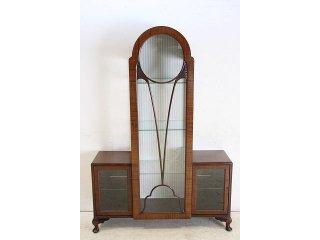 ce-19 1930年代 イギリス製 アンティーク マホガニー アールデコ ディスプレイ キャビネット
