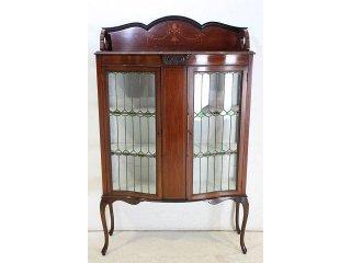 ce-25 1900年代 イギリス製 アンティーク マホガニー エドワーディアン インレイド ステンドグラス キャビネット