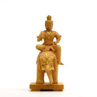 本格小仏 【帝釈天騎象像】 柘植金泥付 高さ10.2cm ミニ仏像