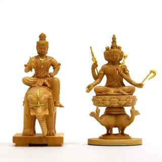 本格小仏 【梵天・帝釈天騎象像】セット 柘植金泥付 高さ10.2cm ミニ仏像