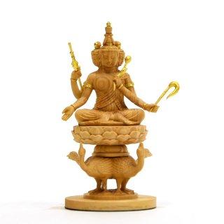 小仏 【梵天】 柘植金泥付 高さ10.2cm 本格ミニ仏像