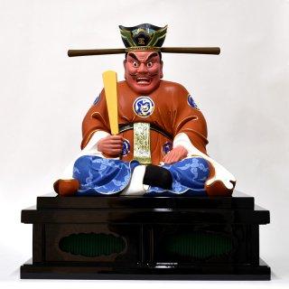 【閻魔大王坐像】 坐1.0尺 総高58cm 椴松(トドマツ) 極彩色