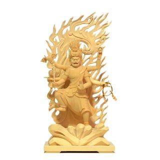 【烏枢沙摩明王(うすさまみょうおう)】 桧木(ヒノキ) 立4.0寸 総高23.5cm 密教