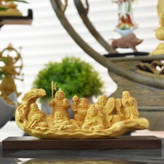 木彫り仏像 一本彫り【七福神】 柘植(ツゲ) 幅約15cm