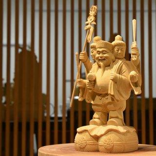 【三面大黒天像】 桧木(ヒノキ) 総高26cm 【勝利神・財運神・技芸神】三位一体