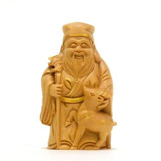 【小仏】柘植七福神之福禄寿 金泥付 高さ8.2cm