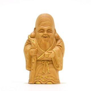 【小仏】柘植七福神之寿老人 金泥付 高さ8.5cm