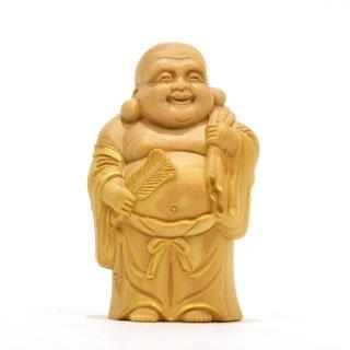 【小仏】柘植七福神之布袋 金泥付 高さ7.9cm