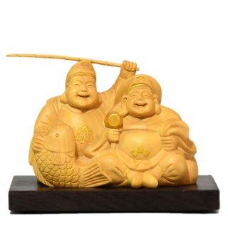 【小仏】柘植一木恵比須大黒天 金泥付 高さ6.5cm