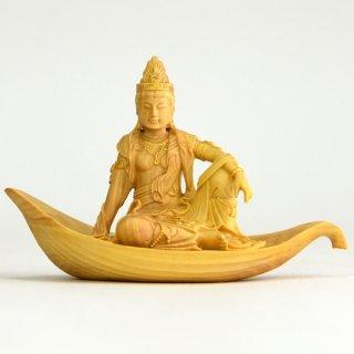 【小仏】柘植一葉観音菩薩 金泥付 総高5.6cm
