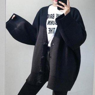 カジュアル セーター カーディガン ニット ボリューム袖 ビッグシルエット オーバーサイズ