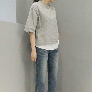重ね着風 シンプル Tシャツ 半袖 レイヤード オシャレ ラウンドネック