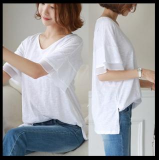 シンプル Tシャツ フレアスリーブ 透け感 可愛い Vネック