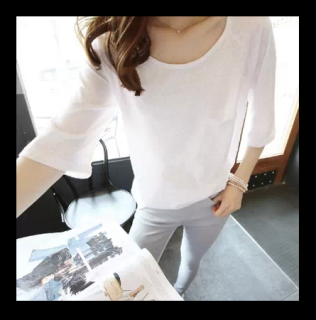 シンプル Tシャツ ナチュラル 七分丈 ラウンドネック