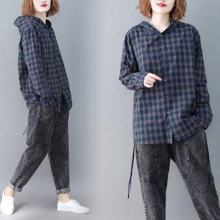 ライター風チェック カジュアル シャツ フード付き こなれ オシャレ シャツジャケット