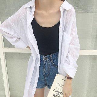ロング丈 シャツ ワンピース 日焼け対策 長袖 シンプル