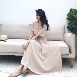 韓国 ファッション ワンピース シフォン ロング ドレス  レディース 夏 ワンピース