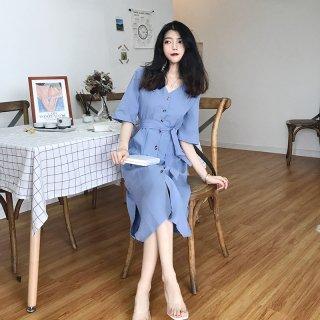 韓国風 Aライン ワンピース コットン Vネック 五分袖 レディース 夏 ワンピース