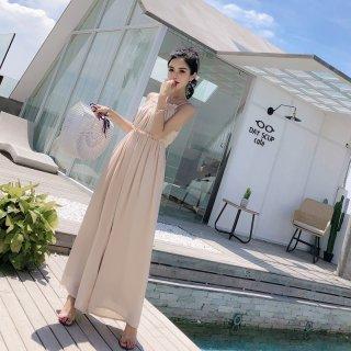 オールインワン ドレス 体型カバー シフォン サロペット