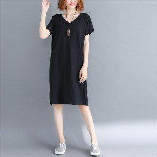 tシャツ ワンピース 綿 半袖 大きいサイズ  Vネック  レディース 夏 ワンピース