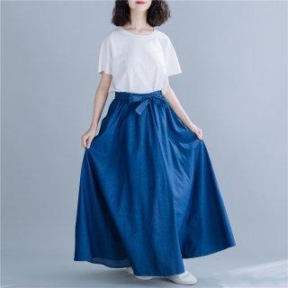デニム フレア ロングスカート 大きいサイズ ゆったりウエスト レディース スカート