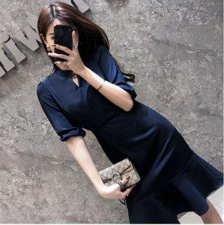 ビジネスワンピース 大きいサイズ フォーマル 紺 黒 レディース ワンピース