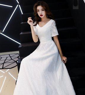ドレス 白 半袖 ロングドレス パーティードレス イブニングドレス レディース ドレス