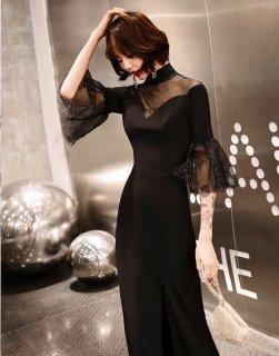 ドレス 黒 ロングドレス スリット パーティードレス レディース ドレス