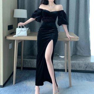 ランタンスリーブ イブニングドレス ドレス レディース 黒 春服 スリット セクシー オープンショルダー ベルベット ロング丈