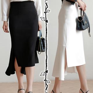 フィッシュテール スリットスカート スカート レディース ミディアムロング オフホワイト 春服 スリット デザイン