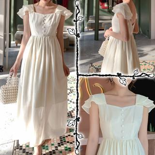 ロング丈 蓮の葉スリーブ ドレス レディース ロングドレス シャンパン 夏服 透け 背中開き スクエアネック きれいめ