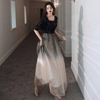 イブニングドレス 五分袖 ドレス レディース サマードレス グラデーションカラー 夏服 ロング丈 シースルー スクエアネック 40代 50代 きれいめ