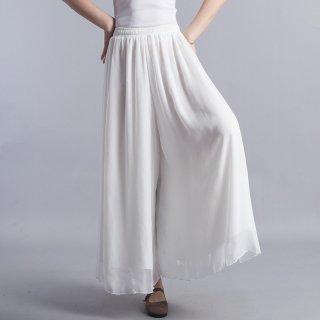 ワイドパンツ 大きいサイズ 春夏 透け感 エレガント きれいめ フェミニン かわいい ルーズ カジュアル