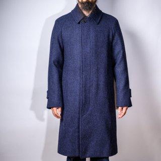 テーラードステンカラーコート 手織りツイード BONCOURAネイビー (tailored balmacaan coat hand woven tweed BONCOURA navy)