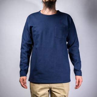 heavy weight pocket tee long sleeve navy