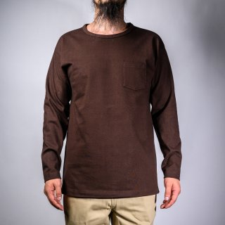 heavy weight pocket tee long sleeve brown
