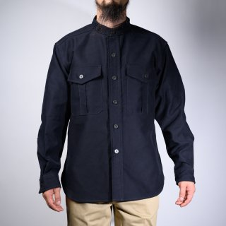 CPO Shirt Band Collar Moleskin Dark Navy