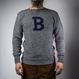 Bセーター グレー杢×ネイビー  B-sweater gray×navy