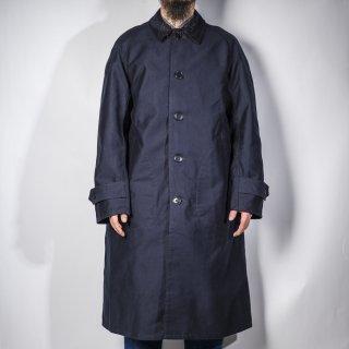 ステンカラーコート モールスキン ダークネイビー (balmacaan coat moleskin dark navy)