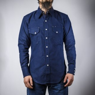 BONCOURA ウェスタン シャツ コットンフラノ ネイビー (Western shirt denim cotton flannel navy)