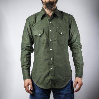 BONCOURA ウェスタン シャツ コットンフラノ オリーブ (Western shirt denim cotton flannel olive)