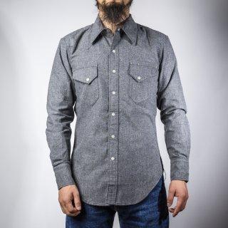 BONCOURA ウェスタン シャツ コットンフラノ グレー (Western shirt denim cotton flannel gray)