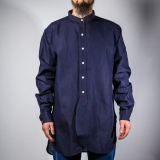 Band Collar Shirt Indigo Linen