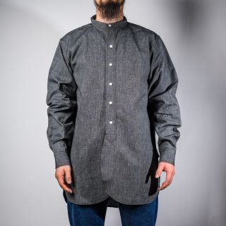 bandcoller shirt heather black chambray