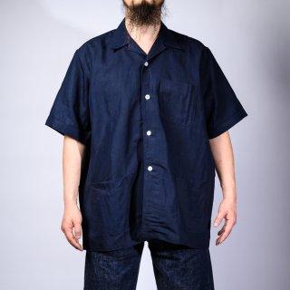 shirt jacket indigo linen