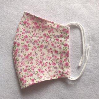【受注生産】上下対称線美マスク【雅〜MIYABI】ピンク小花柄 はごろもランジェリー 立体マスク