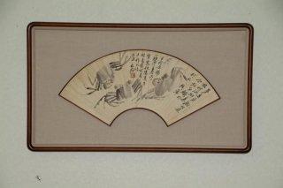 中国書画 扇面額装 no.24   「蟹図」  白石 (仿古)