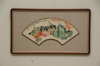 中国書画 扇面額装 no.26  「果花図」 柳榕