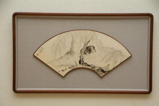 中国書画 扇面額装 no.28   「臥牛」
